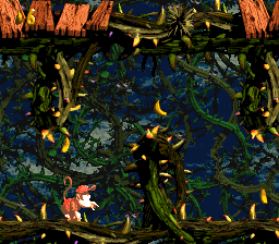Diddy locates the Invincibility Barrel at the start (left image). After becoming invincible, he runs through the bramble thicket, which is a path to the Bonus Barrel.