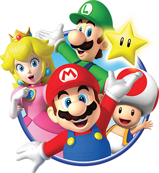 Official promotional art of Mario, Luigi, Peach, and Toad.