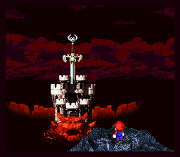 The iconic Super Mario RPG scene of Mario looking at Bowser's castle from the cliff