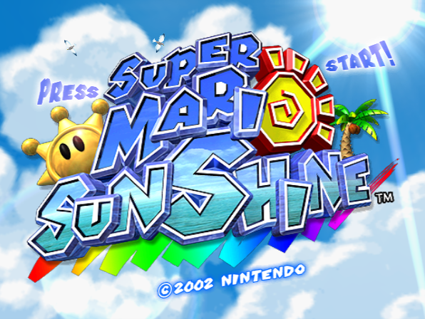 Super Mario Sunshine's title screen.