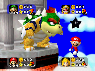Mario getting Mario Party'd on his own board