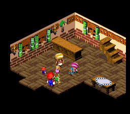 A scene from Rose Town in Super Mario RPG