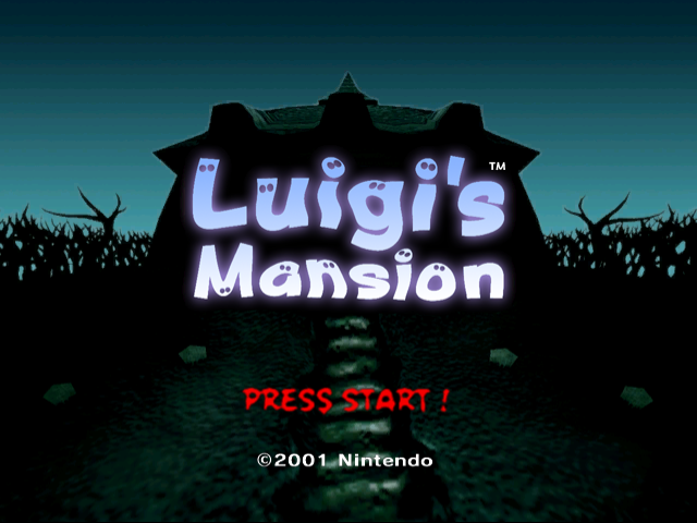 Luigi's Mansion title screen.