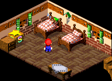 Link sleeping at the Rose Town Inn in Super Mario RPG: Legend of the Seven Stars.