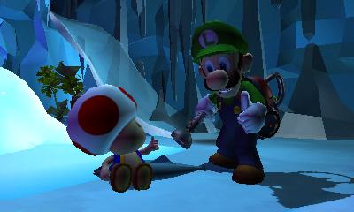 Toad és Luigi bíztatják egymást a Luigi's Mansion 2-ben