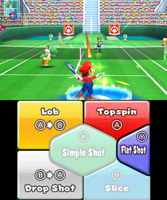 Mario preparing to use a blue Chance Shot.