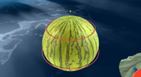 The Marble Planet is destroyed as the watermelon remains, being encircled by shock waves created by a Sentry Beam.