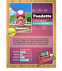 Toadette's official profile card from Mario Super Sluggers (back).