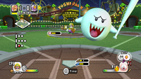 Boo prepares to bat in Mario Super Sluggers.