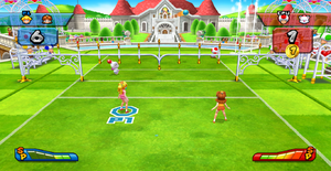 A Volleyball match at Peach's Castle.
