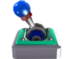 An activated (orange) and deactivated (blue) Lever Switch in Super Mario Galaxy