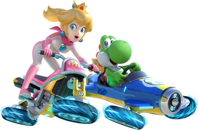 File:Princess Peach and Yoshi - Mario Kart 8.png