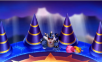 The graphical changes between both versions, showing Dark Bowser being defeated