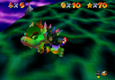 Fight with Bowser in the N64 version (left) and the DS version (right)