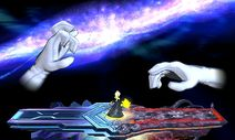 Crazy Hand, alongside Master Hand, in Super Smash Bros. for Nintendo 3DS and Super Smash Bros. for Wii U
