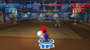 Players playing Volleyball at Luigi's Mansion in Mario Sports Mix.