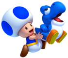 NSMBU Blue Toad and Baby Yoshi Artwork.png