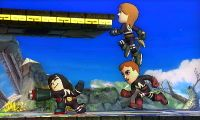 The Fighting Mii Team in Super Smash Bros. for Wii U (left) and Super Smash Bros. for Nintendo 3DS (right)