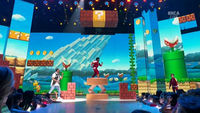 Mario & Luigi's appearance and the cast of Game Shakers in a Mario-inspired level.