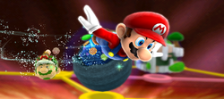 Mario flying to the Cosmic Cove Galaxy in Super Mario Galaxy 2.