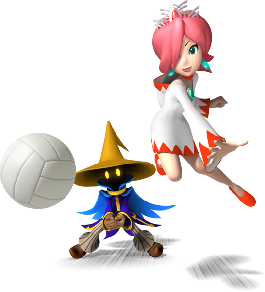 Black Mage and White Mage playing volleyball.