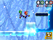 Mario and Luigi travelling through the Airway.