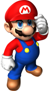 Artwork of Mario for Super Mario 64 (left) and his updated appearance in Super Mario 64 DS (right)