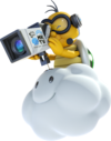 Lakitu as he appears in Mario Kart 7 as the referee and filming for Mario Kart TV in Mario Kart 8.