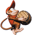 Diddy carrying barrel DKC artwork.png