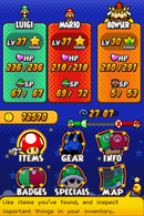 The (star) menu's appearance throughout the Mario & Luigi games.