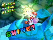 Yoshi and Mario collect a Shine Sprite.