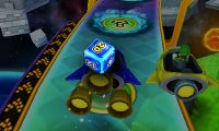A Dice Block in Mario Party: Island Tour being used on a player's turn.