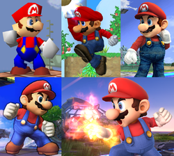 mario as he appears in the five super smash bros games