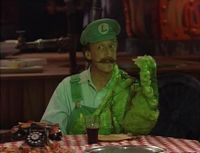 Luigi, having been possessed by the Slime Ghost.