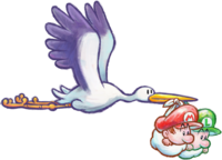 Stork and Babies Artwork - Yoshi's New Island.png