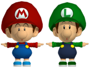 baby mario and baby luigi viewed side by side one should note the subtle differences
