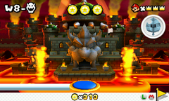 Bowser's first castle and second castle as seen in Super Mario 3D Land.