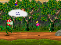 The Piranha Plant (left) from the Mario Party version of Piranha's Pursuit is replaced by Petey Piranha (right).