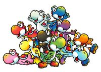 Artwork of the Yoshis in Yoshi's Island DS.