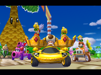 Lakitu as the referee and Toadsworth driving on the Parade Kart in the Award Ceremony.