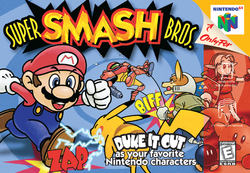 The Super Smash Bros. box cover.