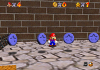 Mini Mario running through Blue Coins in New Super Mario Bros. Wii.
