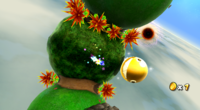A Golden Chomp in the Chompworks Galaxy in Super Mario Galaxy 2.