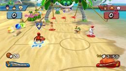 A 3-on-3 Basketball match at Koopa Troopa Beach.
