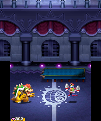 Bowser battling Dark Fawful in Mario & Luigi: Bowser's Inside Story and Mario & Luigi: Bowser's Inside Story + Bowser Jr.'s Journey.