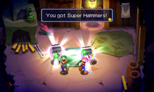 Mario and Luigi receiving the Super Hammers in both the original Mario & Luigi: Superstar Saga and Mario & Luigi: Superstar Saga + Bowser's Minions