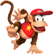 The Nintendo logo appearing on Diddy Kong's cap, and on the walls at Nintendo GameCube in Mario Kart: Double Dash!!.