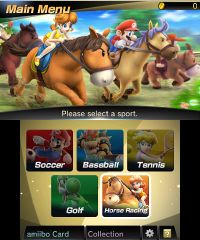 The main menu for Mario Sports Superstars.