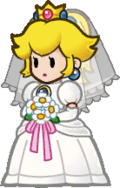Peach in her wedding dress.